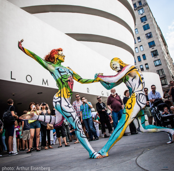 Nude Times Square Body Paint Model Squares Away with
