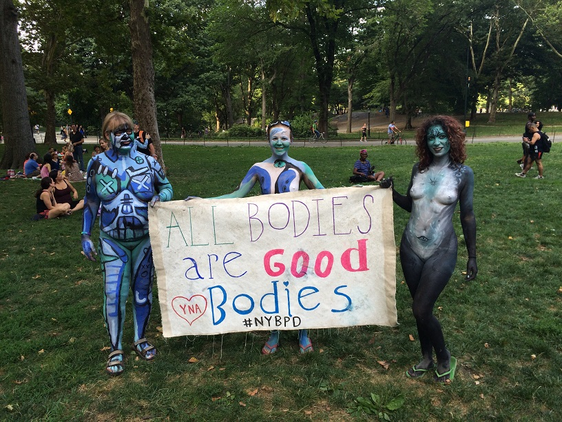 nyc body painting day 2014 central park all bodies are good bodies banner